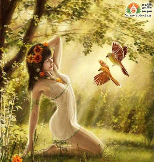 """Предпросмотр схемы вышивки  """"девушка и птицы """". девушка и птицы, девушка,цветы,птицы,лес,, предпросмотр."""